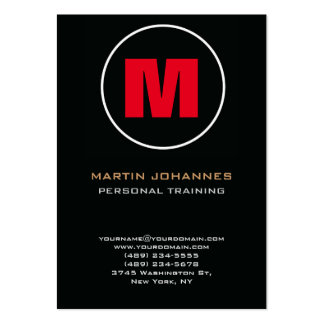 Circle Stamp Monogram Dark Red Personal Trainer Pack Of Chubby Business Cards