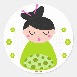 Circle sticker with Geisha / Green