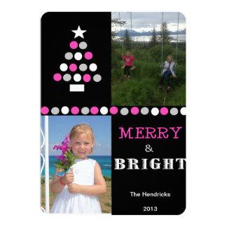 Circle Tree-Black,Pink, Two Photos 13 Cm X 18 Cm Invitation Card