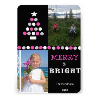 Circle Tree-Black,Pink, Two Photos Custom Invites