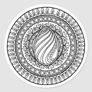 Circle Tribal Doodle Classic Round Sticker