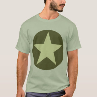 Circled Star - Cream with Olive Green T-Shirt
