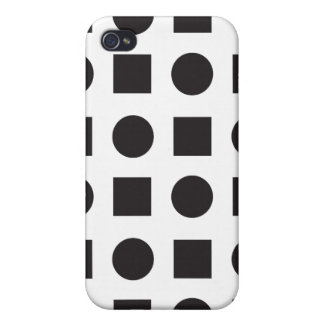 Circles and square black white 2 iPhone 4 cover