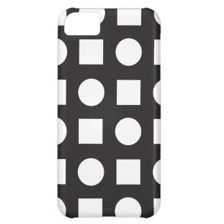 Circles and square black white iPhone 5C case