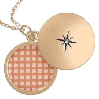 Circles and square orange red round locket necklace