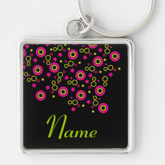 Circles and stars Silver-Colored square key ring