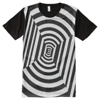 Circles and Stripes Illusion, Black and White All-Over Print T-Shirt