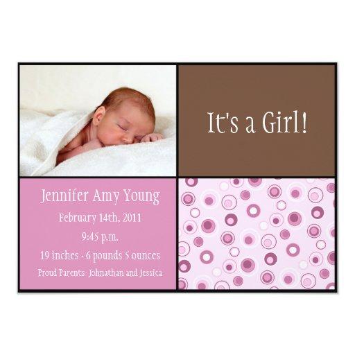 Circles Baby Birth - Pink 11 Cm X 16 Cm Invitation Card