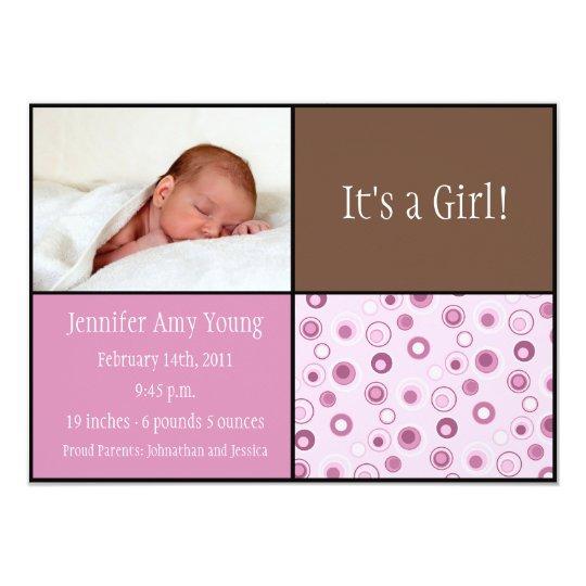 Circles Baby Birth - Pink Card