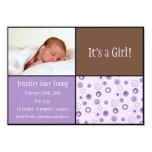 Circles Baby Birth - Purple Personalised Announcements