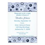 Circles Baby Shower - Blue 13 Cm X 18 Cm Invitation Card