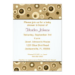 Circles Baby Shower - Brown 13 Cm X 18 Cm Invitation Card