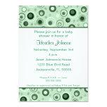 Circles Baby Shower - Green 13 Cm X 18 Cm Invitation Card