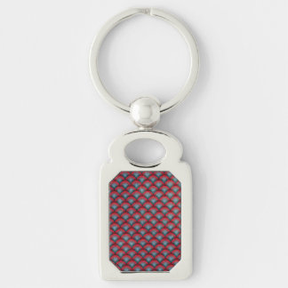 Circles Background  Spiral Surface Red and Blue Silver-Colored Rectangle Key Ring