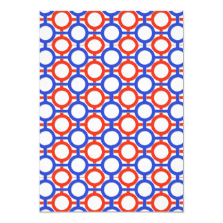 "Circles & Bars Trellis Shades of Blue & Red 5"" X 7"" Invitation Card"