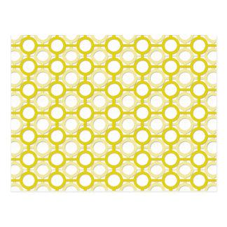 Circles & Bars Trellis Yellow ANY COLOR BACKGROUND Postcard
