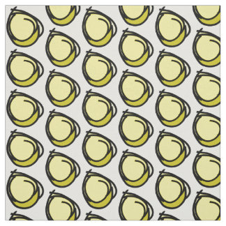 Circles black soft yellows different shades patter fabric