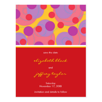 Circles + Dots Blackberry Save The Date Postcard