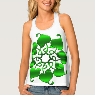 circles green element with leaves tank top