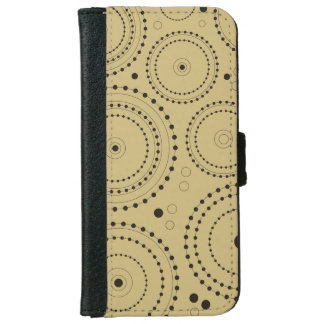 Circles in Circles Design Black on Light Gold iPhone 6 Wallet Case