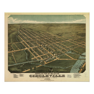 Circleville Ohio 1876 Antique Panoramic Map Poster