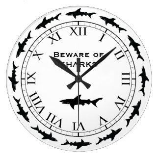 Circling SHARKS - Beware of Sharks Fishing Boat Large Clock