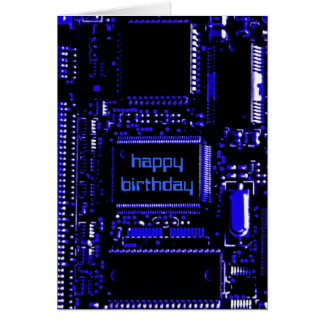 Circuit Blue 'Happy Birthday' card front text