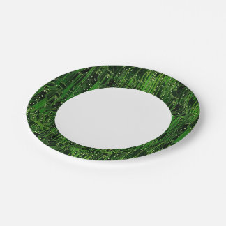 Circuit board background 7 inch paper plate