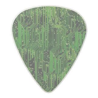 Circuit board background acetal guitar pick