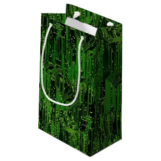 Circuit board background small gift bag