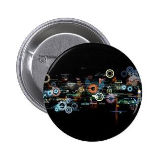 Circuit Board - Black 6 Cm Round Badge