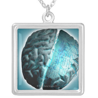 Circuit Board Brain 2 Silver Plated Necklace