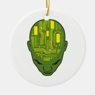 circuit board brain head yellow and green christmas ornament