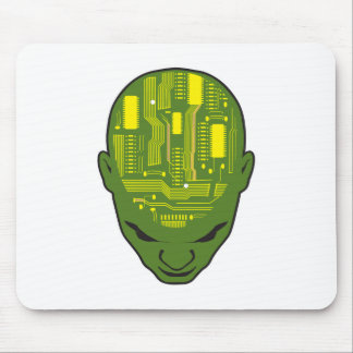 circuit board brain head yellow and green mouse mat