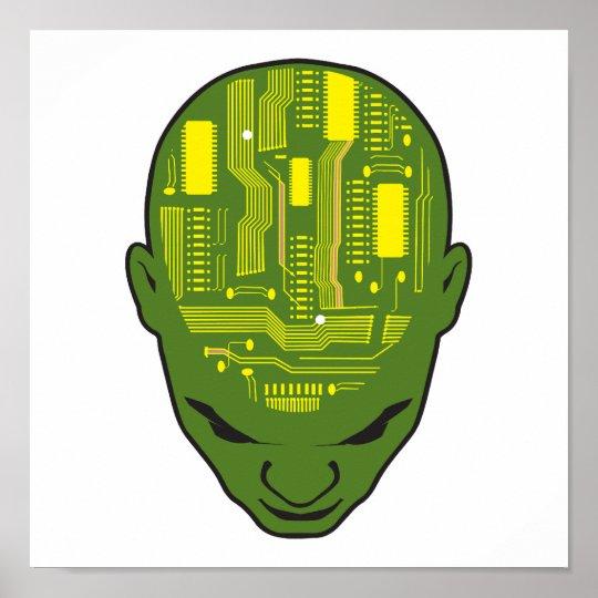 circuit board brain head yellow and green poster