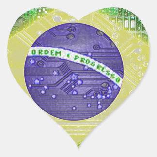 circuit board Brazil Heart Sticker