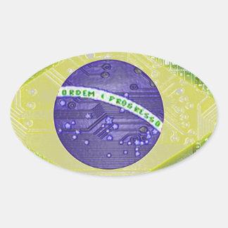 circuit board Brazil Oval Sticker