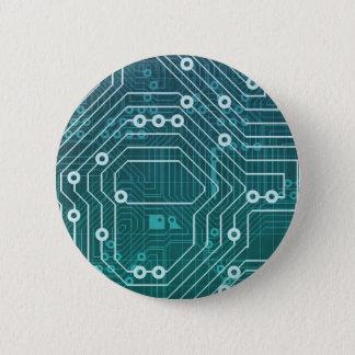 Circuit Board Data Network 6 Cm Round Badge
