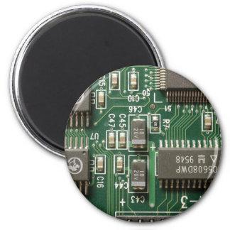 Circuit Board Design 6 Cm Round Magnet
