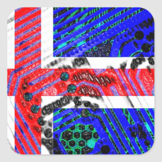 circuit board iceland (Flag) Square Sticker