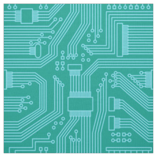 Circuit Board Pattern Turquoise ID245 Fabric