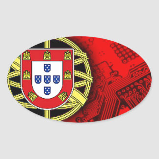 circuit board Portugal (Flag) Oval Sticker