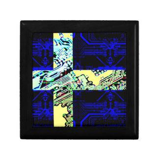 circuit board Sweden (Flag) Small Square Gift Box