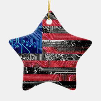 circuit board USA Christmas Ornament
