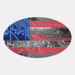 circuit board USA Oval Stickers