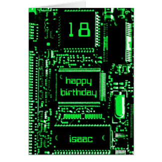 Circuit Green 'Age and Name' birthday card