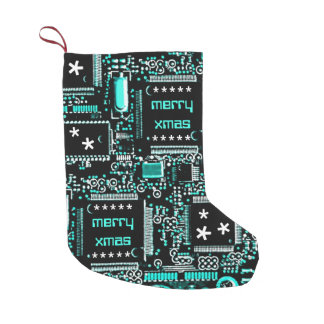 Circuit Light Blue 2 'Merry Xmas' two-sided Small Christmas Stocking