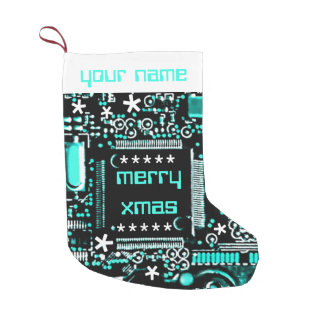 Circuit Light Blue 2 Name stocking two sided