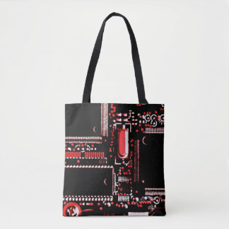 Circuit Red 2 all over tote bag