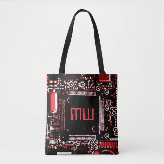 Circuit Red 2 Monogram all over tote bag red back